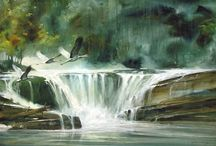 painting waterfall