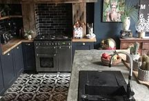 Navy and black kitchen