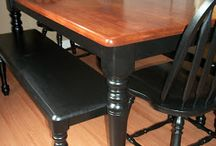 Kitchen Table Refinish / Refinishing Kitchen Table / by Amy Gorospe