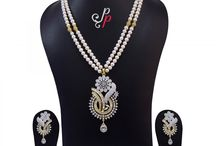 2 Lines Pearl Necklace Set in amazingly beautiful zircon studded pendant at Rs. 8,900
