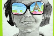 Art Projects- Grade 7 / Self portrait unit- art