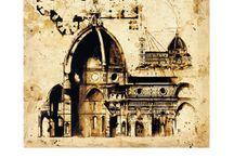 Architectuur schilderijen / Architecture paintings / Art and painting. Architectuur en gebouwen en steden schilderijen / Art.