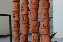 totem&bâton / séries verticales, peintes ou sculptées