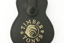 Leather Plectrum Wallets / Black Leather Guitar shaped plectrum wallet that fits 18 picks.
