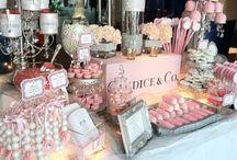 candy bar y mesas decoradas