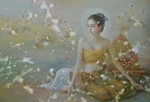 Nang Songkran / 'Nang Songkran' paintings by Sompop Budtarad