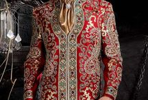 Wedding Sherwani / A sherwani is a very traditional, formal and stylish men's suit. It is a knee length coat worn with a churidar or a pajama.