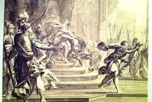 David vs Saul / Immagini di Re David con l'arpa che cerca di calmare la pazzia di Saul e quest'ultimo, minaccioso o pazzo, cerca di colpirlo con la lancia.