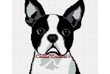 Boston Terrier  Cross Stitch