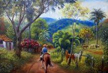 paisajes con caminos y flores