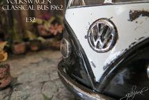 Diorama Volkswagen / Paper  Art / Handmade / Miniature/Volkswagen bus/diecast