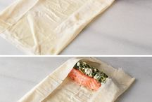 Wrapped salmon with feta cheese