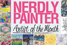 Featured Artist: Nerdly Painter / Meet Our Featured Artist for October! Regina is the talented artist behind Nerdly Painter.  She was trained and worked as a research scientist for over a decade before taking up art. Her extensive studies in science, music and engineering which includes a PhD are quite impressive and provide a unique perspective to her designs.