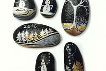 Peinture sur roche plate
