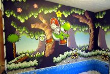 Yoshi's Island Bedroom / A bedroom painted in a Yoshi's Island Super NIntendo theme!!! Painted by Matt Chalik. :) Mario Nintendo game goodness! *I know him personally. He resides in Northwest Indiana.*