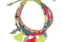 HandmadevBracelets / Set of 5 layers beads Elastic band Poly cotton pom pom Composition- 55%Metal, 10%Iron, 10%Glass