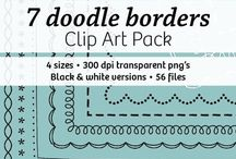 $ Clip art for products & covers / Frames, borders, digital paper and other design elements.