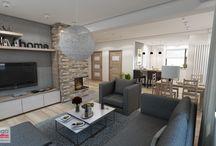 NOWOCZESNE I PRZYTULNE WNĘTRZE DOMU KOŁO MYŚLENIC / Wnętrze w nowoczesnym klimacie, praktyczne i funkcjonalne, ale nie pozbawione ciepłego i przytulnego klimatu. Drewno dębowe, wyważone biele oraz stonowane beże i szarości ze szczyptą designu, pomysłowych rozwiązań oraz detali. Projekt dotyczył 80,40 m2 domu jednorodzinnego: salonu z jadalnią, kuchni, spiżarni, przedpokoju, klatki schodowej, łazienki na parterze i łazienki na piętrze
