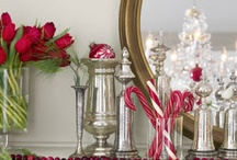 Christmas | 2017 French Flaire / Green tree, white, silver, gold, bronze, red or black toile, black stripe ticking, sheet music, boxwood wreaths & topiaries, urns, silver trays, burlap, birch logs