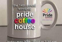 The 14th Annual Winnipeg Pride Coffee House 2014 / Live music and spoken word. Visit with friends and break bread together  Fri May 30th 2014 7:30pm  https://www.facebook.com/events/447171508760805/  Line-up: Singers: Deborah Romeyn Alex Spring Jamie Lillie & Dylan Acorn Sawyer McMahon & Kyla Auger Chaer Renae Süss  Spoken Word: Kai Jolley David Churchill on art Patrick Gratton poetry  Proud Food Sponsors: Lilac Bakery, Chocolate Zen Bakery, Stella's Café & Bakery and Starbucks.  The Exchange Community Church, 75 Albert Street second floor / by GLBTTQ* Artists of YWG