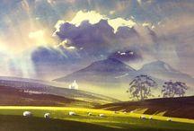 Watercolor landscape / summer
