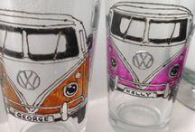 Hand Decorated Glasses / Hand decorated glasses and Mugs