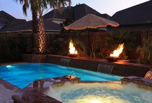 Swimming Pool Fire Features / Add alittle flair to your backyard with water and fire.....