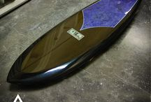LYD McCALLUM SURFBOARDS / Smoke and opac black tint resin job + purple acid splah effect +leash loop and polish finish