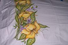 Pintura em tecido! / Panos de prato, tapetes,...