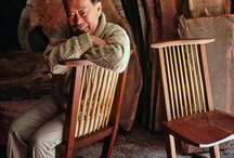 George Nakashima / George Katsutoshi Nakashima - American woodworker, architect, and furniture maker. He was one of the leading innovators of 20th century furniture design and a father of the American craft movement. His signature woodworking design was his large-scale tables made of large wood slabs with live/natural edges.  They often consisted of multiple slabs connected with butterfly joints.