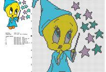 Schemi punto croce gratis Looney Tunes / Schemi punto croce gratis Looney Tunes, ricamo, ricamare, bambini, cartoni animati...