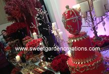 Red & Black Event party ideas / elegant red & black event, desserts, sweets, candy station, party decor, etc