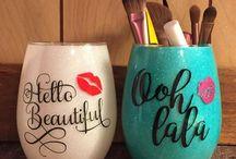 verre vaisselle peint pots