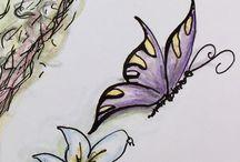 Handgefertigt / Zeichnungen, meist zu Garten Themen oder handgemalte Gartenpläne