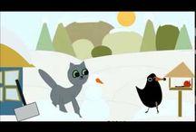 Kinderlieder Weihnachten Zeichentrick / Animierte Kinderlieder, Zeichentrick im Winter und zu Weihnachten mit Kätzchen Molli-Miez, zum Mitsingen oder lernen. Schneemann baun, rodeln, Plätzchen backen