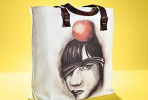 01WARDROBE Autumn/Winter 2013 - Apple Tote Bag / Cow Skin Leather Shoulder Straps // %100 Cotton Canvas bag / Printed bag / İllustrated bag / Apple Tote Bag, $69