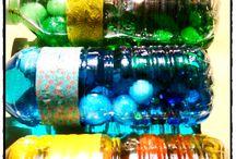 activités sensorielles, bouteille colorée