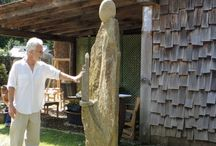 Carl Peverall stone sculptures / Dovecote's sculpture exhibition with Carl Peverall's atmospheric stone sculpture. Carl hails from the Mt Mitchell area is no stranger to the Highlands Cashiers plateau. His large sculptures from natural stone with a variety of shapes and exhibit great power.