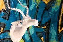 OG Impala 'Ivory' / Faux Urban Taxidermy, sculpture, street art, Wild WestSide, resin, Impala