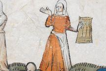 Orange dresses 14th and 15th century