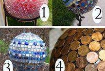 Garden balls with glass beads