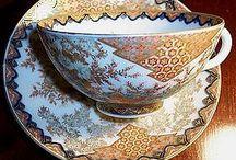 Japanese Porcelain Fukagawa Tea Cup & Saucer