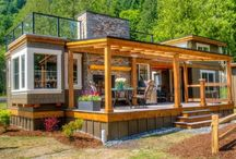 Small houses, cottages, containers / All about space saving living