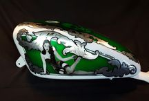 Harley Davidson Tank skull / Aerografia Serbatoio  harley davidson tank made with candy color ,pin up , silver leaf and pastel color ..custom design