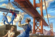 Painting of men working