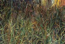 Charlie Burk - Grass Paintings / Charlie Burk has been painting landscape for 40+ years and finds an endless source of inspiration from the world around him. He paints poetic portraits of our living earth. Executing a painting of a field of grass requires great skill. Charlie's lush landscapes of grass captivate us. His paintings thoughtfully and seductively pull the viewer close for a better look. He offers us a portal into our memory of a landscape, something elusive yet calming.