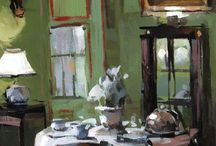 ART -STILL LIFE, INTERIORS / colorful, modern — nontraditional