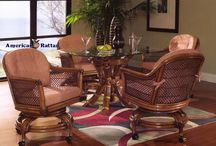 Indoor Wicker and Rattan Dining Sets / Choose your Rattan dining set with side chairs, arm chairs, and caster wheel chairs with swivel and tilt functions. We carry round tables, square tables, and rectangular tables. Many stains, styles and fabrics to choose from