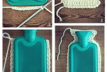 crochet & knitted hot water bottle covers