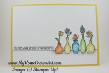 Stampin up vivid vases / A board of ideas from the stampset vivid vases from Stampin up